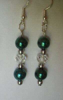 New Teal Glass Pearl & Clear Crystal Pierced Earrings, Buy Any 2 Get 3Rd Free