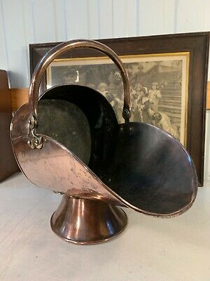Antique English Victorian 19th Century Copper Fireplace Coal Wood Scuttle
