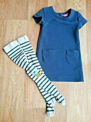 girls outfit age 3 set navy mustard yellow dress & bumble bee tights