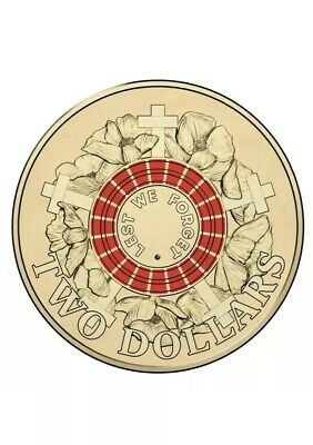 Red 2015 Australia $2 Anzac Two Dollar Coin Lest We Forget Uncirculated Capsule
