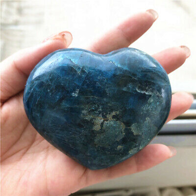 Natural Blue APATITE HEART Polished Palm Stone Healing Reiki Decor Madagascar