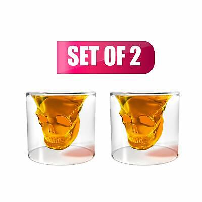 Transparent Crystal Skull Shot Glass Set 2 Pcs High Quality Clear Glass Durable