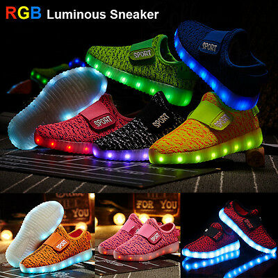 Childrens Yeezy /Wing LED Light Up RGB Luminous Kids Casual Sneaker Sport Shoes