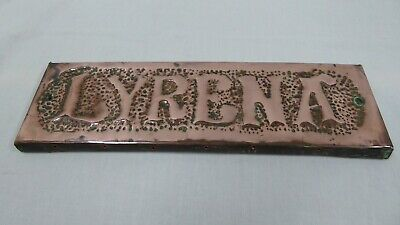 Vintage Antique Name Plaque - LYRENA - Hand Beaten Copper