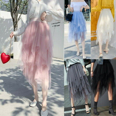 Summer Womens Layers Mesh Tulle Tutu Long High Waist Skirt Princess Party Dress