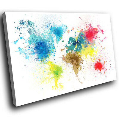 Colourful World Map Abstract Canvas Wall Art Cool Picture Prints