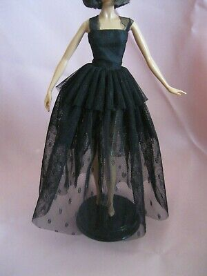 Barbie Clothes Dress Gown - Black With See Through Net  (Doll Not Included)