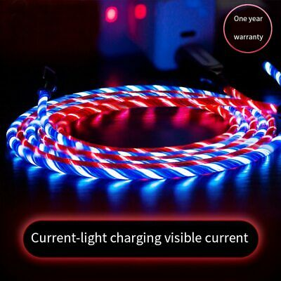 LED Flowing Lightning/TypeC/Micro USB Charging Cable for iPhone Android New AU