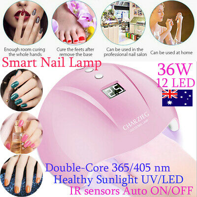 AU 36 W LED Light UV Lamp Nail Dryer Art Gel Curing Gelish Timer Acrylic Polish