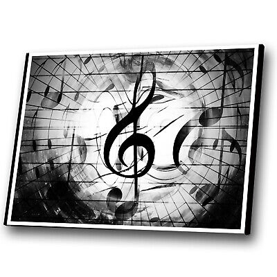 Black White Music Notes Abstract Canvas Wall Art Cool Picture Prints