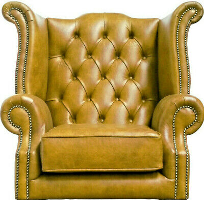 Chesterfield High back Queen Anne Chair wing back Armchair in Distressed Mustard