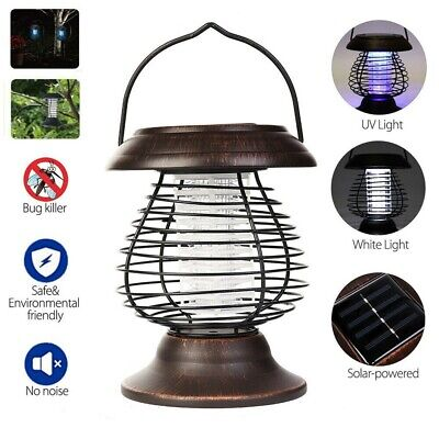 Solar Powered Mosquito Fly Bug Insect Zapper Killer Trap Lamp Outdoor Light