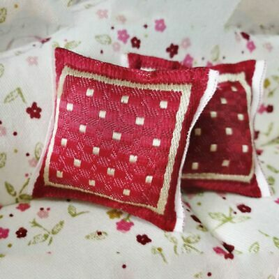 1/12 Scale Red Pillow Cushion For Doll House Sofa Couch Miniature Decor 4x4cm