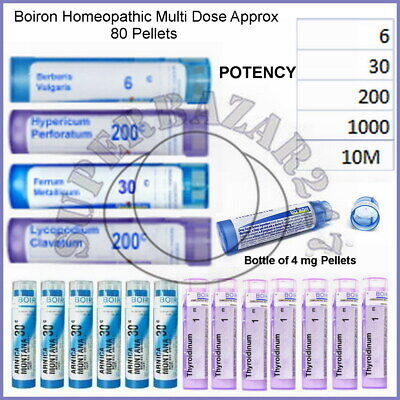 Boiron Multi Dose 80 Pellets Homeopathic Medicine Potency 6CH 30CH 200CH 1M(UK2)