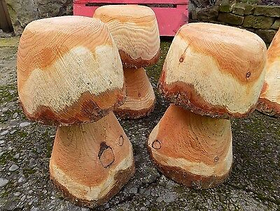 Rustic Chainsaw Carved WOOD Garden Mushroom Flat Top Stool Woodland Unique LA5