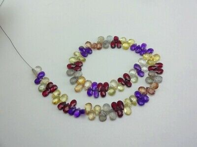 """All Natural Mix Stones Faceted Pear Gemstone Loose Beads 5-6mm 35cts 8"""" Strand"""