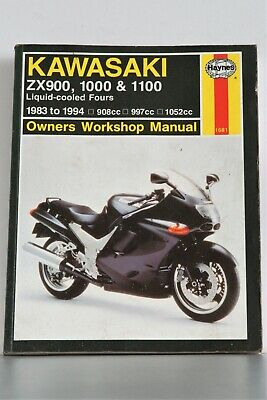 kawasaki zx900 1000 & 1100 liquid cooled fours haynes workshop manual gpz  zx zzr