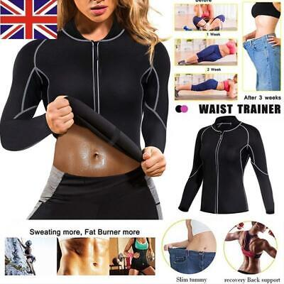 Women Neoprene Sauna Zip Up Body Shaper Suit Tops For Weight Loss Gym Workout