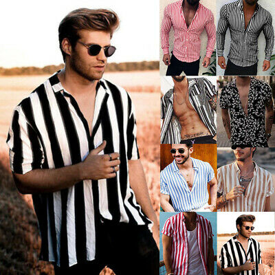 AU Men's Luxury Stylish Striped Shirts Dress Shirts Long Sleeve Slim Fit Shirts