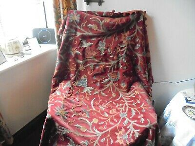 """Antique/Vintage Panel Of Jacobean Style Hand Made Wool Crewel Work 68""""X50"""""""