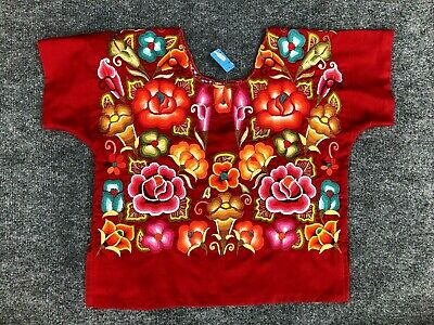 ZAPOTEC Hand Embroidered Floral Design Huipil Blouse Top Oaxaca Mexico NWT