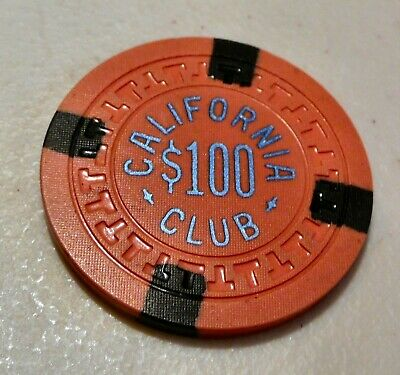 California Club $100 Casino Chip Salmon Color Rare Las Vegas Uncirculated