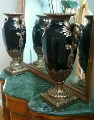 "A pair of Large Vintage Chinese Black Porcelain & Brass Vases 19"" high:"