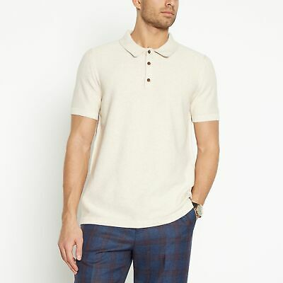 Hammond & Co. By Patrick Grant Men Natural Moss Stitch Knitted Polo Shirt