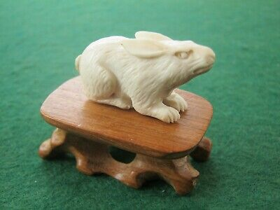Sweet Hand Carved Statue Of A Rabbit or Hare On Wooden Stand In Deer Bone Antler
