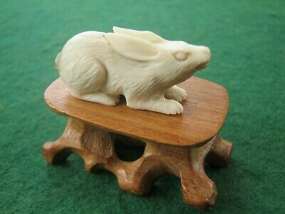 Sweet Hand Carved Statue Of Rabbit or Hare On Wooden Stand In Deer Bone Antler