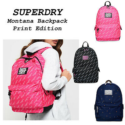 Womens Backpack Superdry Montana Print Edition Rucksack Women Book Bag NEW