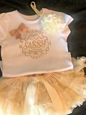Handmade Girls Tutu Outfit Little Miss Sassy Pants gold age 5 years