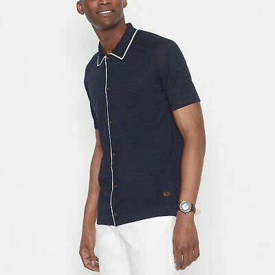 Hammond & Co. By Patrick Grant Men Navy Knitted Button Trhough Polo Shirt