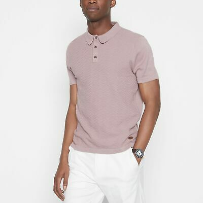 Hammond & Co. By Patrick Grant Men Mid Rose Chevron Textured Knitted Polo Shirt