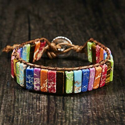 Hot 7 Chakra Leather Bracelet Natural Stone Tube Beaded Wrap Bangle Handmade New