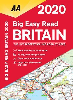 AA 2020 Big Easy Read Atlas Map Britain Spiral Bound A3 Size Giant Scale (81275)