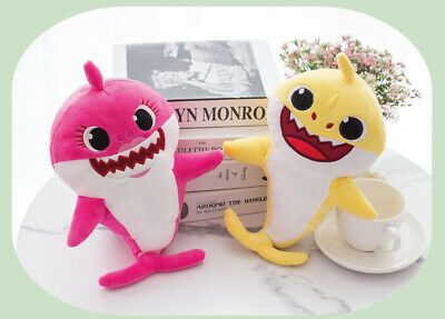 Baby Shark Toys Soft Plush Doll Singing Music English Song Cute Kids Cartoon LED