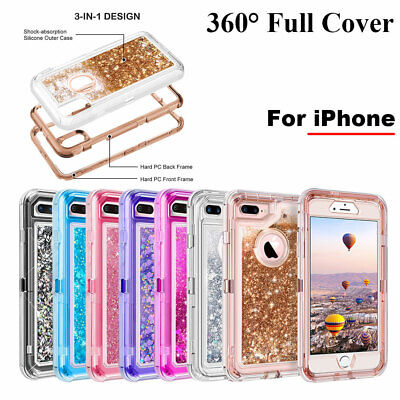 360° Liquid Glitter Bling Heavy Duty Case For iPhone 11 Pro Max Xs XR 7 8Plus 6S