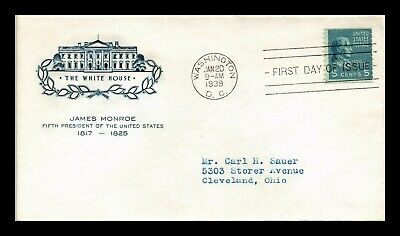 Dr Jim Stamps Us Presidential Series James Monroe First Day Cover Scott 810