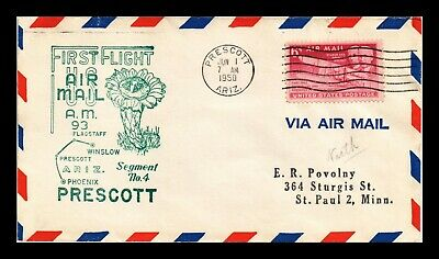 Dr Jim Stamps Us Prescott Am 93 First Flight Air Mail Cover Winslow Backstamp