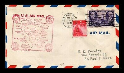 Dr Jim Stamps Us Wisconsin Rapids Am 86 First Flight Air Mail Cover 1948