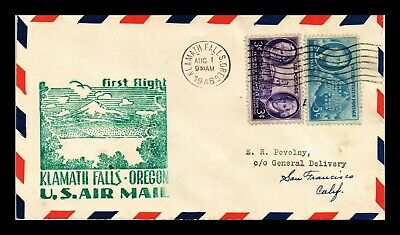 Dr Jim Stamps Us Klamath Falls Oregon First Flight Air Mail Cover San Francisco