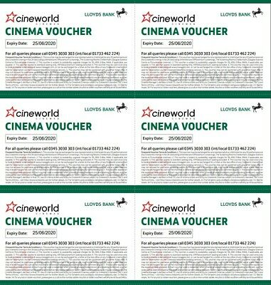 6 x Cineworld Cinema Tickets Club Lloyds Expiry 25/06/2020 Email Delivery