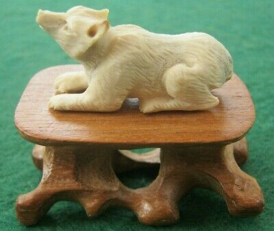 Sweet Miniature Hand Carved Statue Of A Wolf On Wooden Stand In Deer Bone Antler