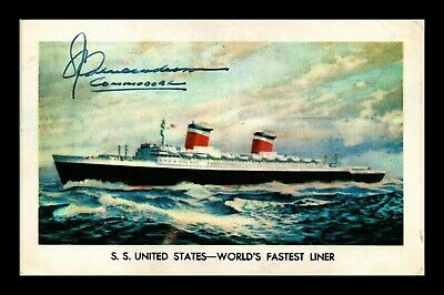 Dr Jim Stamps Us Ss United States Worlds Fastest Liner Signed Postcard
