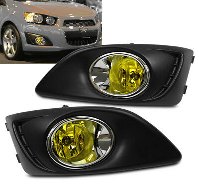 12-16 CHEVY SONIC BUMPER FOG LIGHTS YELLOW W//COVER+SWITCH KIT LEFT+RIGHT PAIR