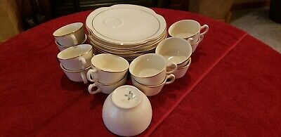Lot 25: Empress Gold Band by Homer Laughlin snack plates & cups - Antique China