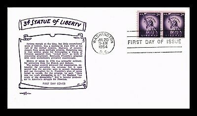 Dr Jim Stamps Us 3C Statue Of Liberty Fdc Pent Arts Cover Pair