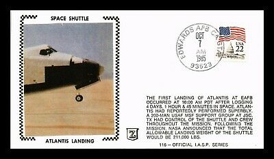 Dr Jim Stamps Us Atlantis Space Shuttle Landing Iasp 116 Silk Event Cover