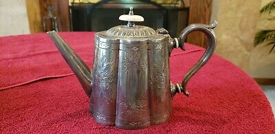 Antique Silver Plated Tea Pot Victorian late 1800s Repousse Ornate Finial